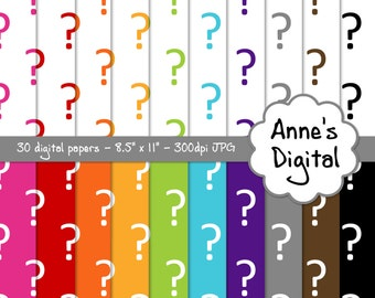 "Question Mark Digital Papers - Matching Solids Included - 30 Papers - 8.5"" x 11"" - Instant Download - Commercial Use (133)"