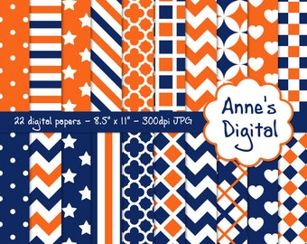 "Blue and Orange Digital Papers - Matching Solids Included - 22 Papers - 8.5"" x 11"" - Instant Download - Commercial Use (013)"