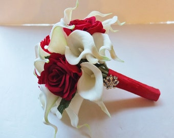Bridesmaid Bouquets, White Calla Lily and Red Roses bridesmaid bouquet, Bridal Bouquet, wedding bouquet