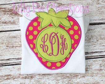 Girls Strawberry Monogram Shirt, Strawberry Applique Shirt, Strawberry Patch, Strawberry Birthday Party, Girls Monogram Shirt, Girls tshirt