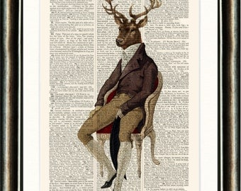 Dashing Stag  - vintage image printed on an Antique Dictionary Page Buy 3 get 1 FREE