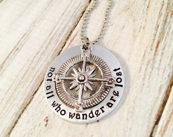 Not all who wander are lost - Personalized Hand stamped washer Necklace