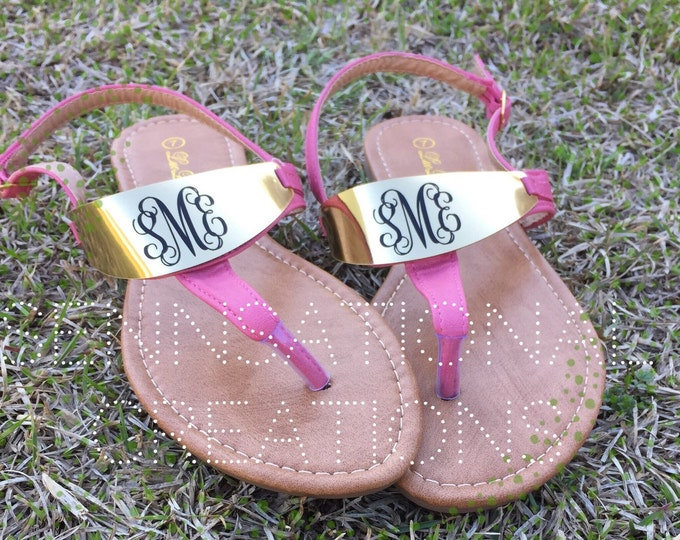 SALE:  Monogrammed Sandals,  Monogrammed Shoes, Mother's Day Gift, Graduation Gift, personalized Sandals