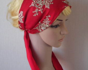 Red Hair Bandana ,embroidered with golden thread and  with crystals fashion headband headscarf, Embroidered Flower Hair Scarf with Tie