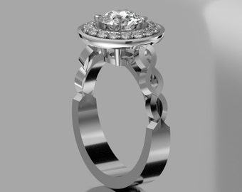 14 KT White Gold Contemporary Engagment Ring With Moissenite and  Diamond Halo