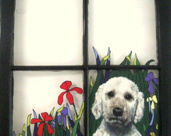 Labradoodle, Recycled Art, Dog Window, Custom Pet Portrait, Wall Hanging, Pet Loss Memorial, Original Art, Animal Art, Dog Art