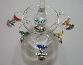 Set of 6 Football Wine Charms