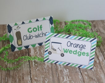 Golf Party Food Tents, Golf Birthday Food Labels