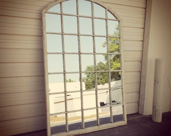 Distressed Rustic Window Pane Mirror By Thedecorativecompany