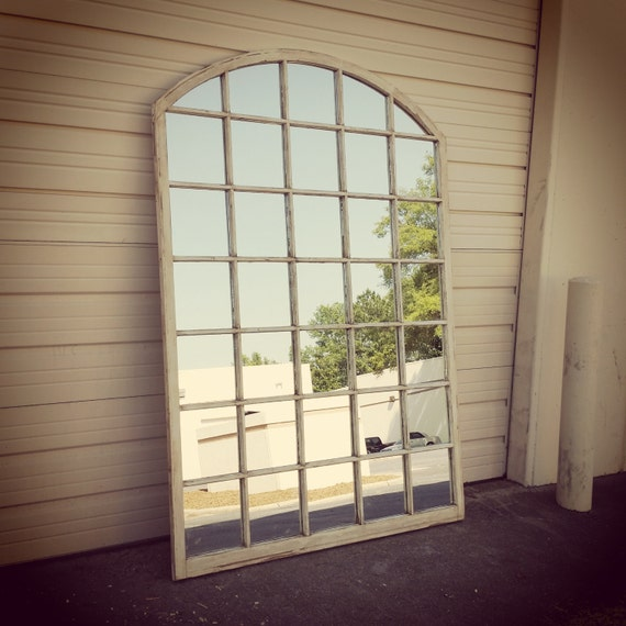 Arched window pane mirror arched window mirror white window Window pane mirror