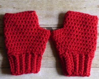 Red Crochet Fingerless Gloves - Womens Accessories - Ladies Gloves