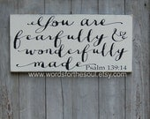 Nursery Girl Psalm 139:14 You are FEARFULLY and WONDERFULLY Made Christian Typography Scripture Art Wooden Sign Painting kids Room