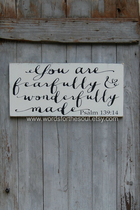 Rustic Wall Decor For Nursery : Nursery wall art rustic wood signs fearfully made psalm