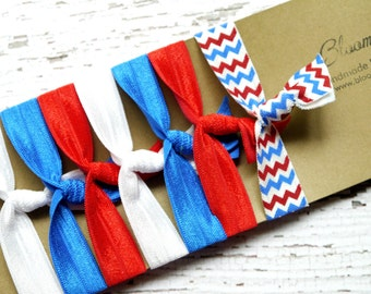 7 pcs Elastic Hair Tie - Memorial Day/4th July - Patriotic Hair Ties - White/Royal Blue/Red and Chevron -Toddler to Adult