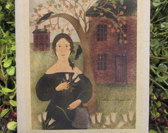 Primitive Lady Happy Birthday Greeting Card - FREE SHIPPING