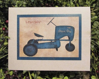 Toy Tractor Happy Birthday Greeting Card - FREE SHIPPING