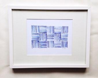 Blue Pattern Study B Watercolor Print