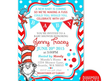 Dr Seuss Baby Shower Invitation Card- Cat in the hat Baby shower invite - Blue Red Chevron-PRINTABLE