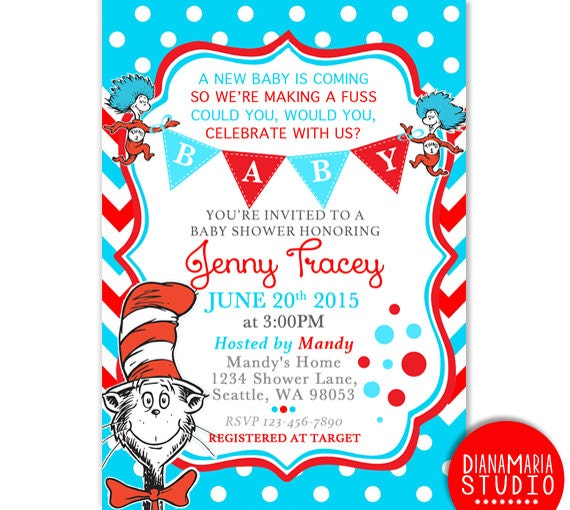 Dr seuss baby shower invitation card cat in by dianamariastudio