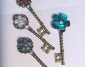 4 Floral Skeleton Key Magnets with Rhinestones Antique Gold Refrigerator Decor