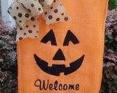 Halloween  Pumpkin Face Fall Garden Flag, Garden flag, outdoor decoration, fall garden flag, burlap fall yard flag