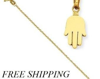 14K Small Solid Hamsa Pendant with 14k Chain