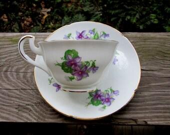 vanderwood bone china violets demitasse cup and saucer made in england
