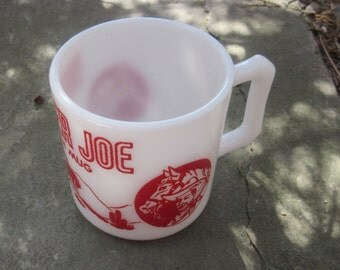 hazel atlas RANGER JOE red and white mug