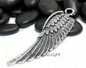 Large Wing Charms Antique Silver Tone 50x16mm - CH0065