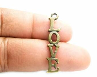 DOLLAR SALE Love Charm in Antique Bronze - Word Charm, Love Pendant - CH0029