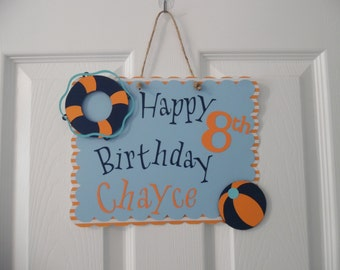 Pool Party Sign-  Pool Birthday Party Sign - Boy's Pool Party-