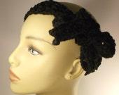 Crochet black headband / Black hair accessory / Mesh style headband / adults and teens