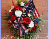 MADE To ORDER XL Patriotic Garden American Flag Wreath, Memorial Day, 4th July, red white blue, Rustic, Elegant, Rose, single 12x18 flag