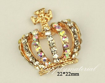 1PCS 22x22mm Crystal Crown Flatback Alloy jewelry Accessories materials supplies