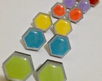 Wood hexagon earrings stud earrings resin earrings