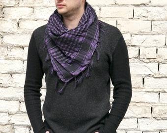 Purple Cotton Scarf / Cotton Scarf / Womens Summer Scarf / Square Cotton Scarf / Gift For Boyfriend / Best Man gift / Unisex Scarf