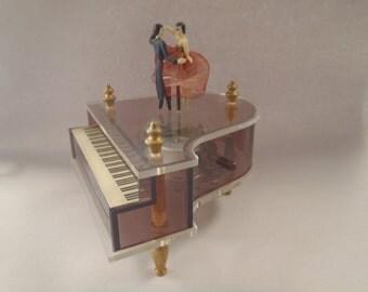 Sankyo Lucite Piano Music Box with Dancers