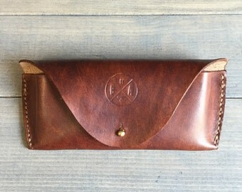 Leather Sunglass Case in Cognac Brown