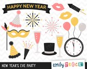 80% OFF SALE New Year's Eve Party Champagne Fireworks Cute Clip Art, Instant Download, Commercial Use