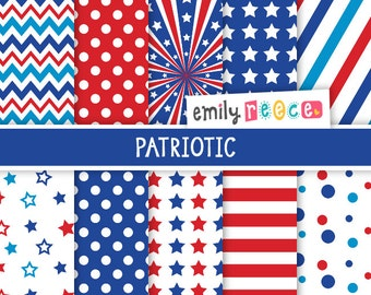 80% OFF SALE Patriotic Red White Blue July 4th Cute Digital Papers, Instant Download, Commercial Use