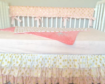 Baby Pink, Coral And Gold Polka Dot Bumperless Custom Crib Bedding Ombre Crib Skirt