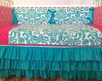 15% Off Ready To Ship Pink Turquoise Teal Damask Custom Crib Bedding