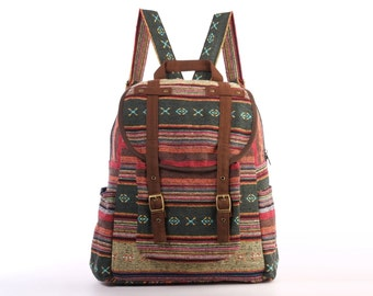 Woven Backpack Ethnic Tribes Rustic Folk Traditional Bag, Organic Cotton Textile Multicolor, College University Book bag (Brown Trim)