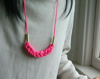 Neon Pink Knot Necklace, gold, adjustable,Fiber Necklace,Rope Necklace, tassel necklace, natural, Nautical Necklace, Minimalist,boho jewelry