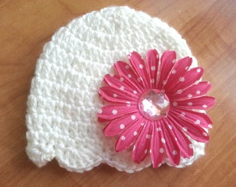 Crochet white baby girl hat with bling and flower