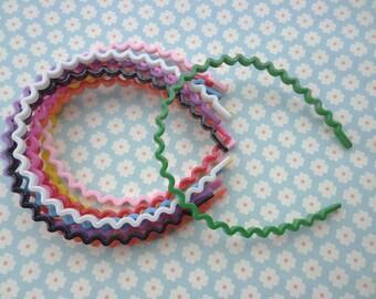 20 pcs mixed color the wave shape  plastic Headband 5mm Wide