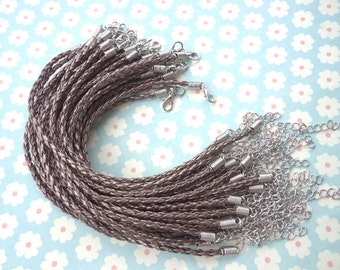 20 pcs 3mm 7 -9 inch adjustable antique bronze  bfaux braided leather bracelet with white k fitting