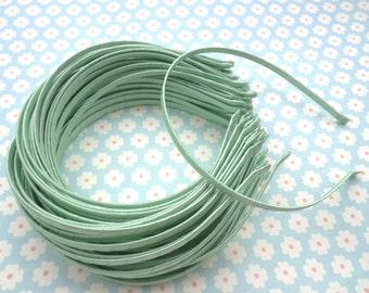 SALE--50pcs Mint green Satin Headbands-- 5mm Wide