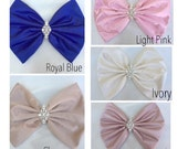 Big Bow with crystals by Isabella Couture - Pink Bow - Flower Girl Dress - Crib Bows - ALL COLORS