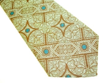Wild 1970s Bohemian Tie Super Wide Mens Vintage Disco Era Hand Made Handmade Necktie with woven designs in mint green, brown and blue